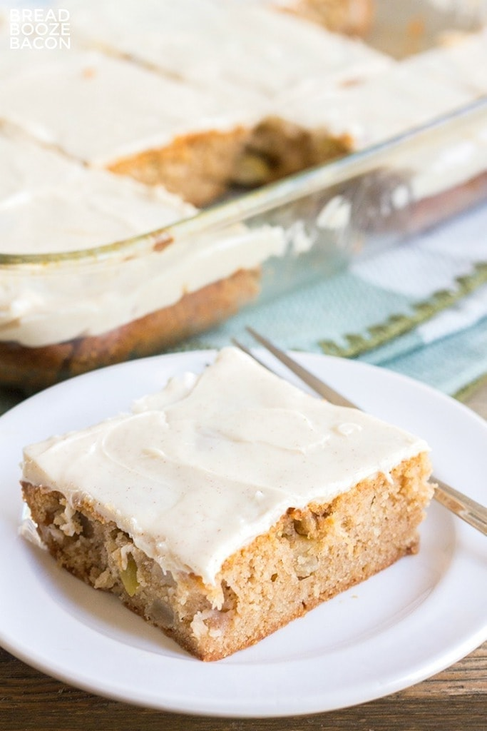 Apple Spice Sheet Cake with Cinnamon Cream Cheese Frosting - fall baking and desserts.