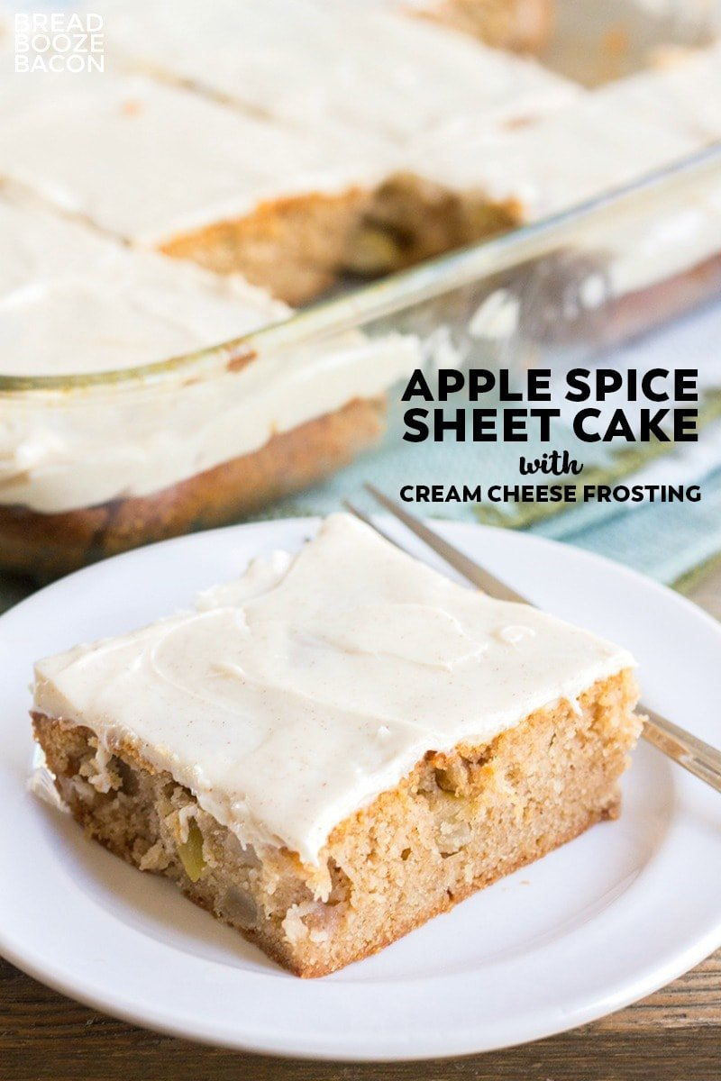 Apple Spice Sheet Cake - Bursting with apples, baking spices, and topped with cream cheese frosting, this will become your favorite fall dessert!