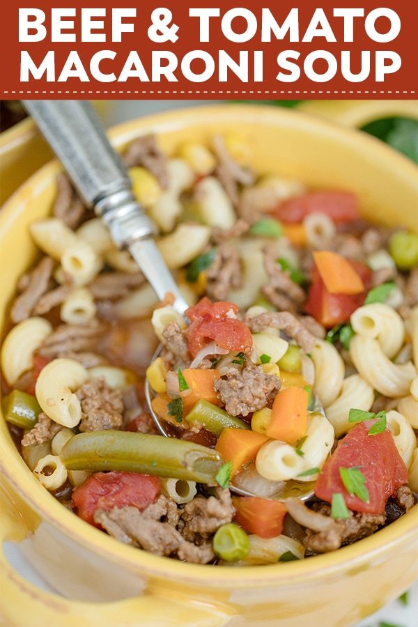 Easy Beef & Macaroni Soup is a rich and delicious classic goulash soup. With a hearty tomato beef broth, tender pasta & veggies, this is class comfort food.