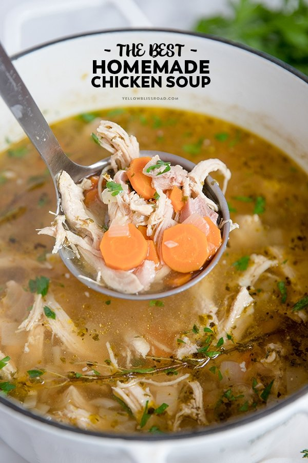 Homemade Chicken Soup is easy, delicious, and will cure whatever ails you! It's warm and comforting, and perfect for those cold winter nights.