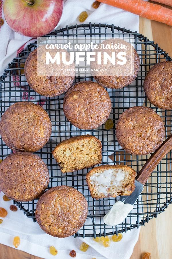 Social media image of Carrot Apple Raisin Muffins