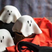 Chocolate mug cake ghost cakes are fun and fast. Make a batch with your little ghosts and goblins!