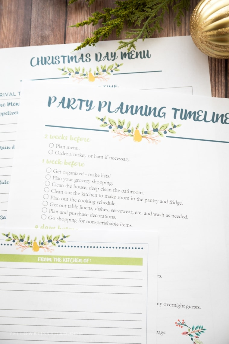 2017 Christmas Planner with Party Planning and Menu Charts for the holidays