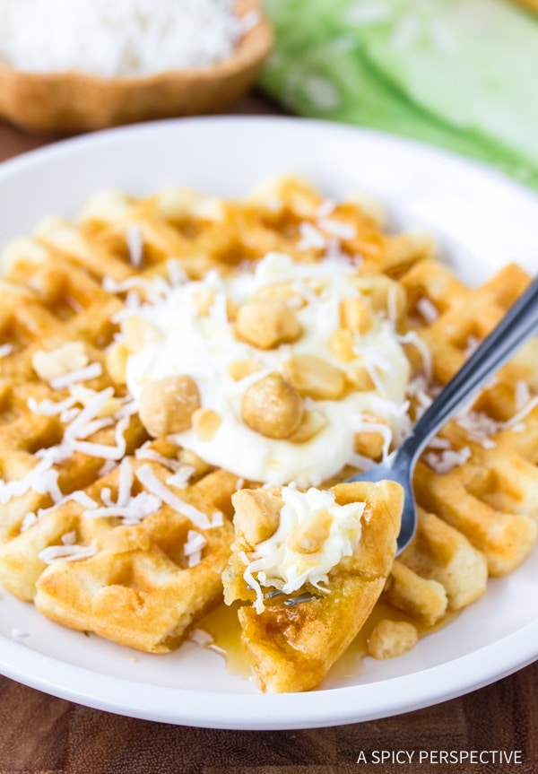 A close up of a plate of waffles