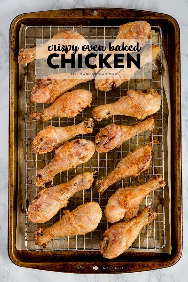 Learn how to bake chicken in the oven in three easy steps with this Easy, Crispy Oven Baked Chicken Drumsticks recipe! So simple and much healthier than frying!