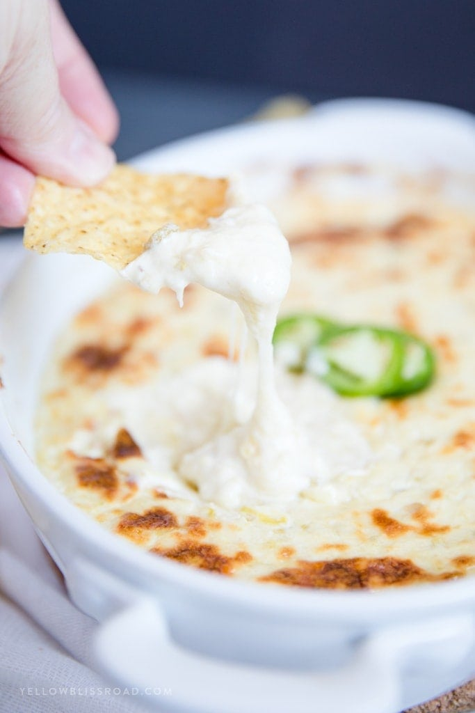 Easy Baked Queso Blanco Dip - a creamy appetizer dip with four cheeses.