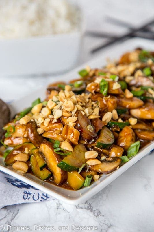 A plate full of Kung Pao chicken