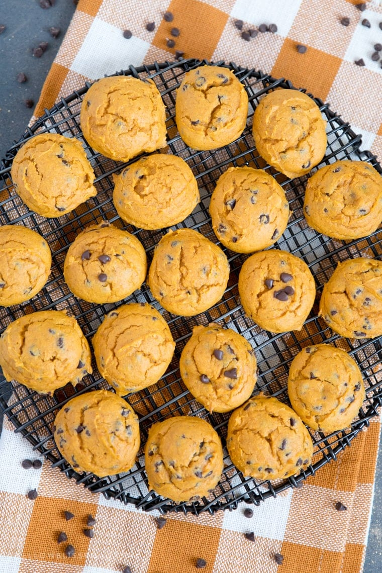A bunch of cookies on a rack