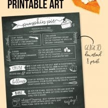 Pumpkin Pie Recipe Free Printable Chalkboard