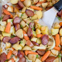 Smoked Sausage & Apple Sheet Pan Dinner