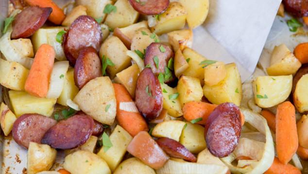 Smoked Sausage & Apple Sheet Pan Dinner