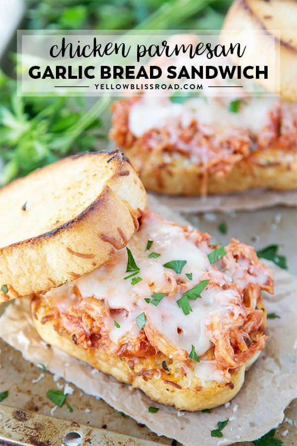 Chicken Parmesan Sandwich with the title of the recipe on the photo