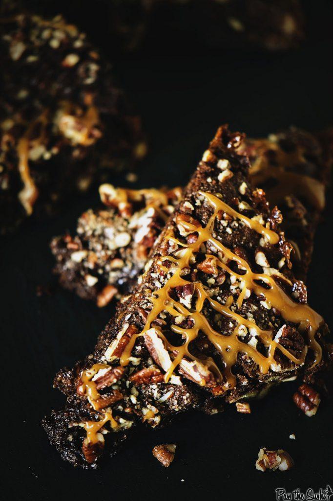 Stack of turtle brownies