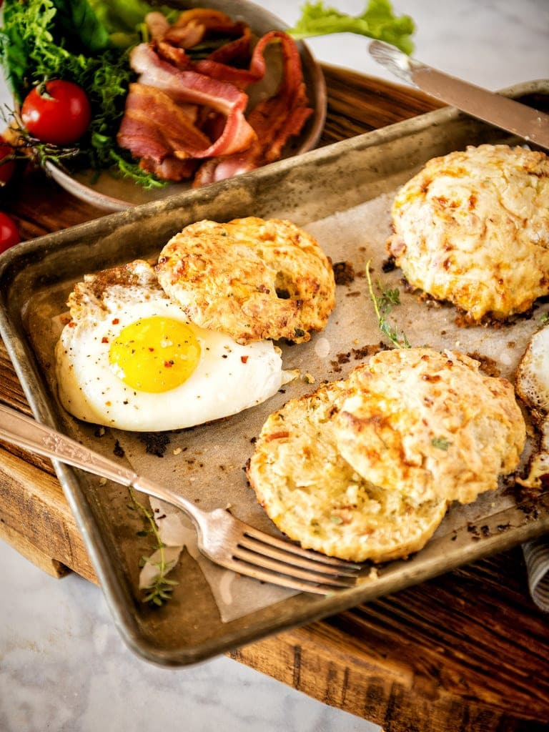 A pan with biscuits and eggs