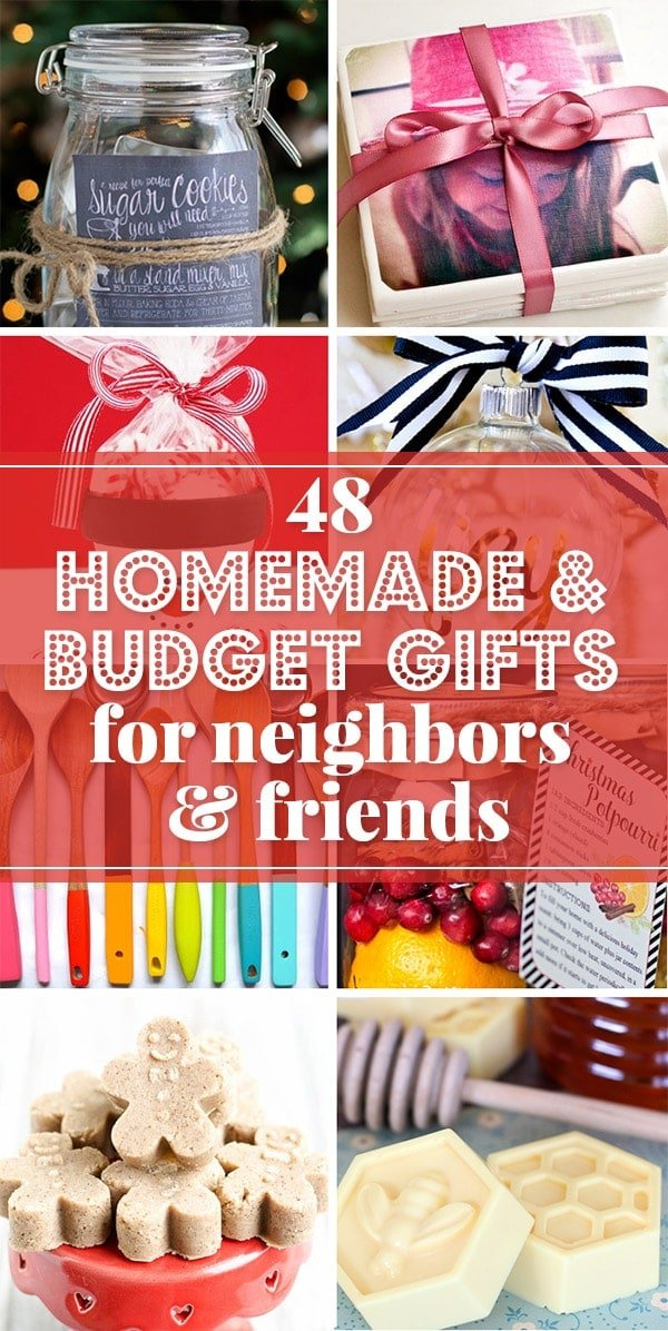 Budget gift ideas and simple homemade Christmas gifts; perfect for giving Christmas gifts to friends, neighbors, co-workers and teachers collage.
