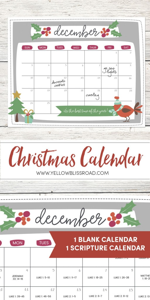 Christmas Countdown Calendar - a great way to build up to the excitement of Christmas. Includes a blank calendar and a scripture filled Advent version.