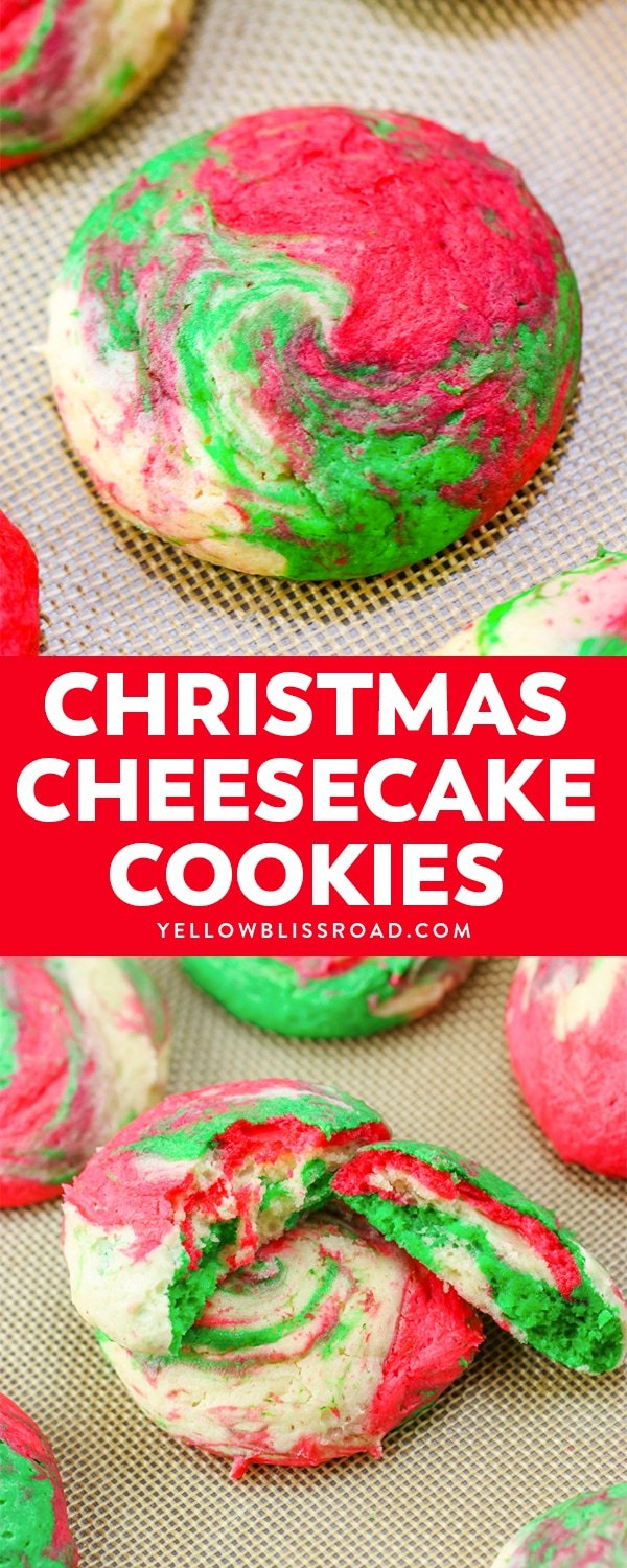 Christmas Cheesecake Cookies are creamy and tender, with just a hint of peppermint. The red, white and green swirls make them Santa's favorite cookie, too!