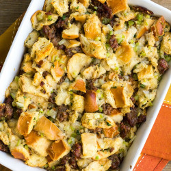 Classic Sausage Stuffing is a must-make recipe for your Thanksgiving dinner! This savory combination of ingredients will bring your dinner together and leave everyone satisfied!