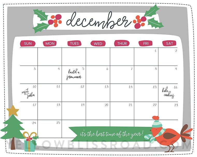 December Kids Calendar : Free printable christmas countdown calendar for december