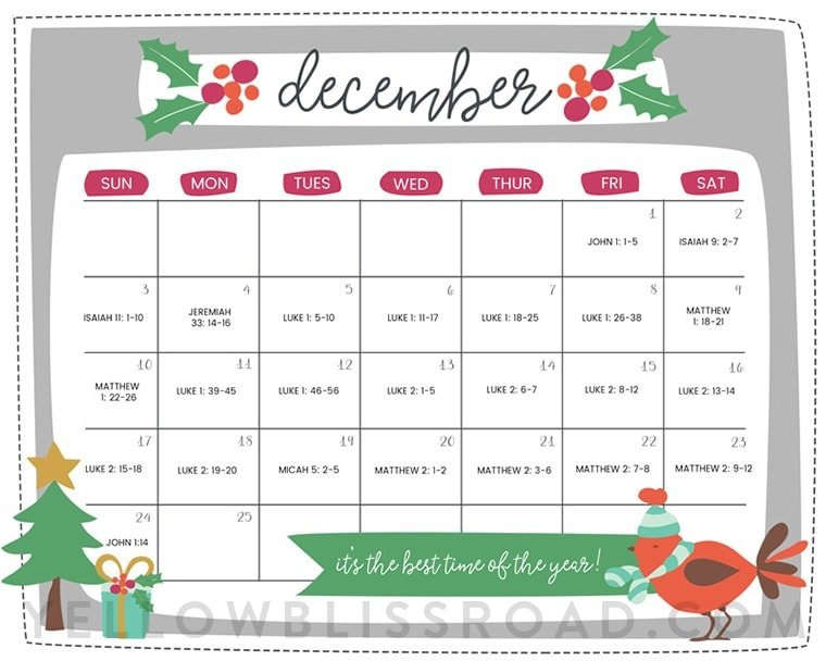 Weekly Calendar Counter : Free printable christmas countdown calendar for december