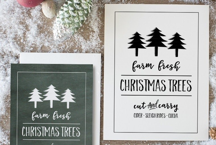 Farm Fresh Christmas Trees Free Printable Sign