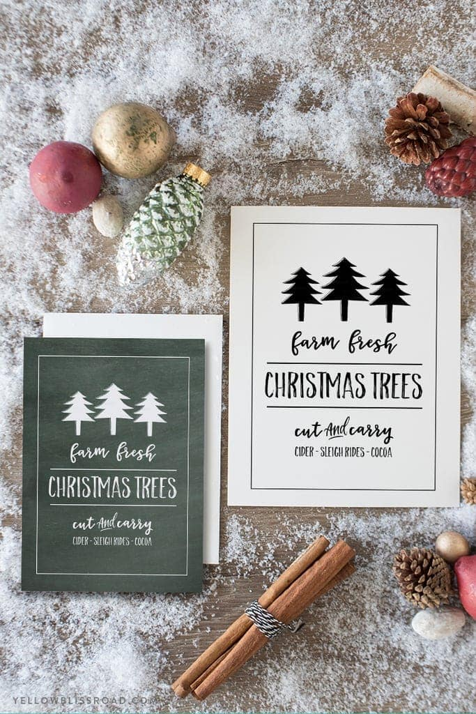 Free Printable Farm Fresh Christmas Trees for your Christmas Decor | Chalkboard and white backgrounds in two sizes