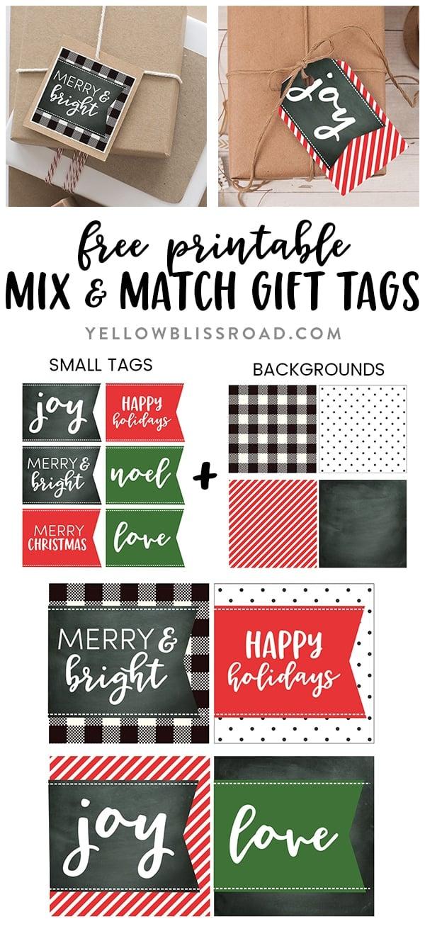 Printable Christmas gift tags with mix & match sizes and colors |Free Christmas Printable