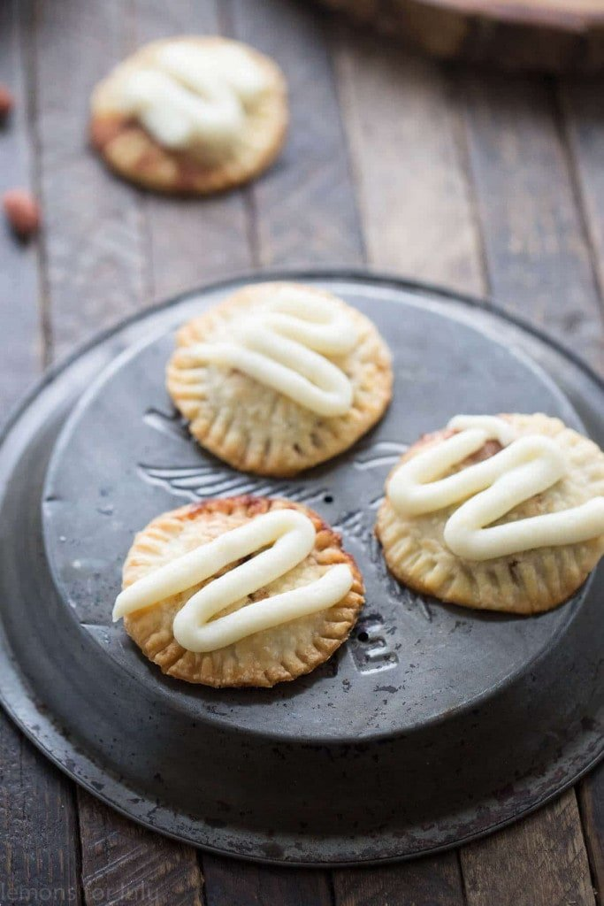 Three handpies with frosting