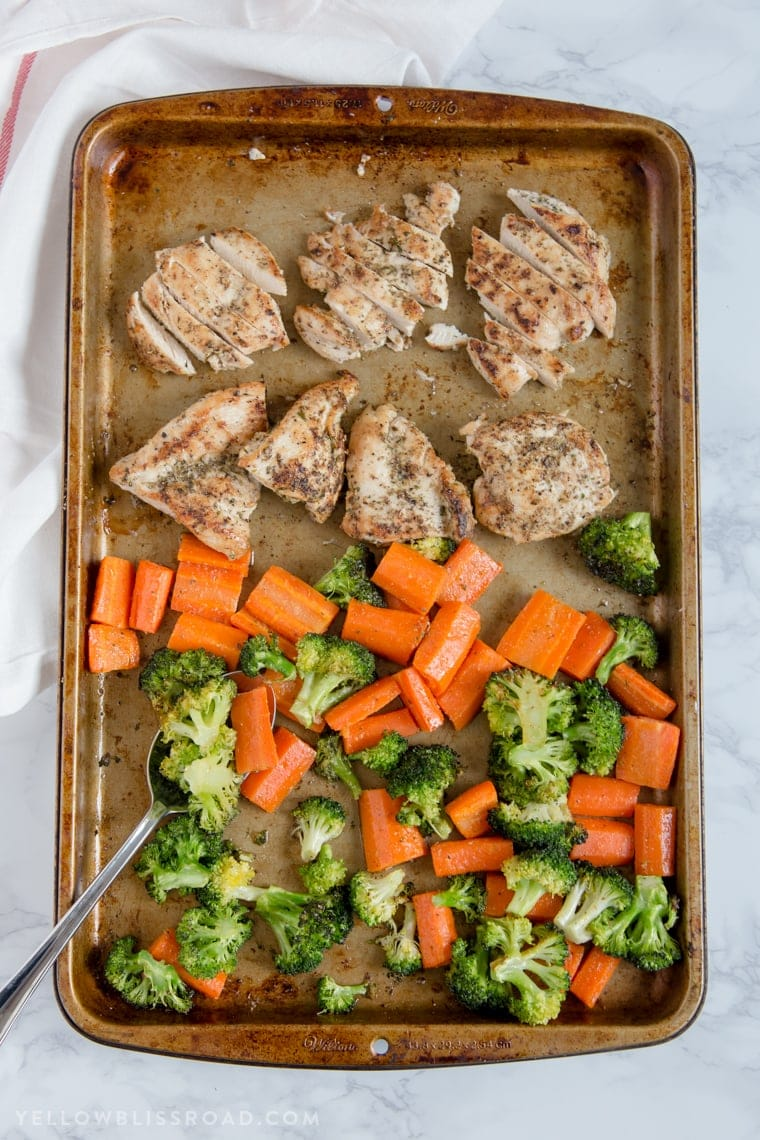 A sheet pan with chicken and veggies
