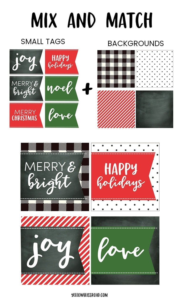 Free printable Christmas Gift Tags - Mix & Match Sizes, Colors and Backgrounds