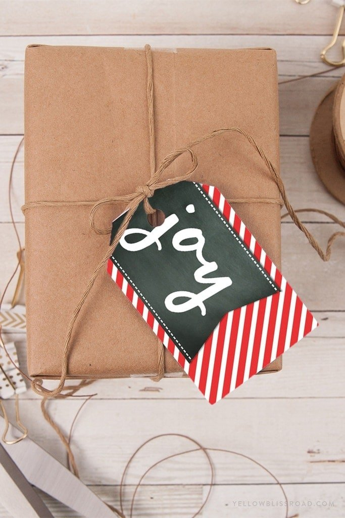 Free printable Christmas gift tags - JOY chalkboard with red and white striped background