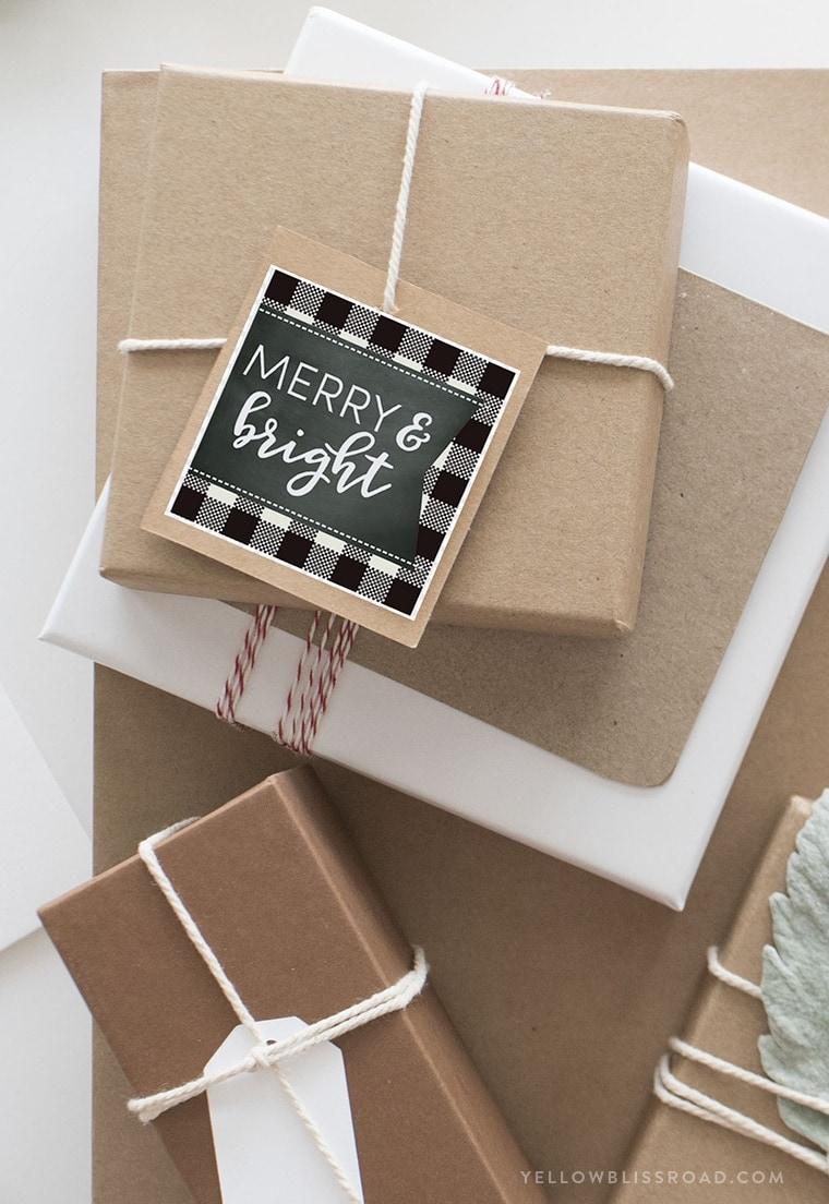 Christmas gifts with printable tags