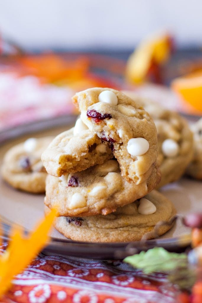 Delicious Orange Cranberry White Chocolate Chip Cookies with orange zest, dried cranberries, and white chocolate chips.