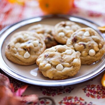 A plate of Orange Cranberry White Chocolate Cookies