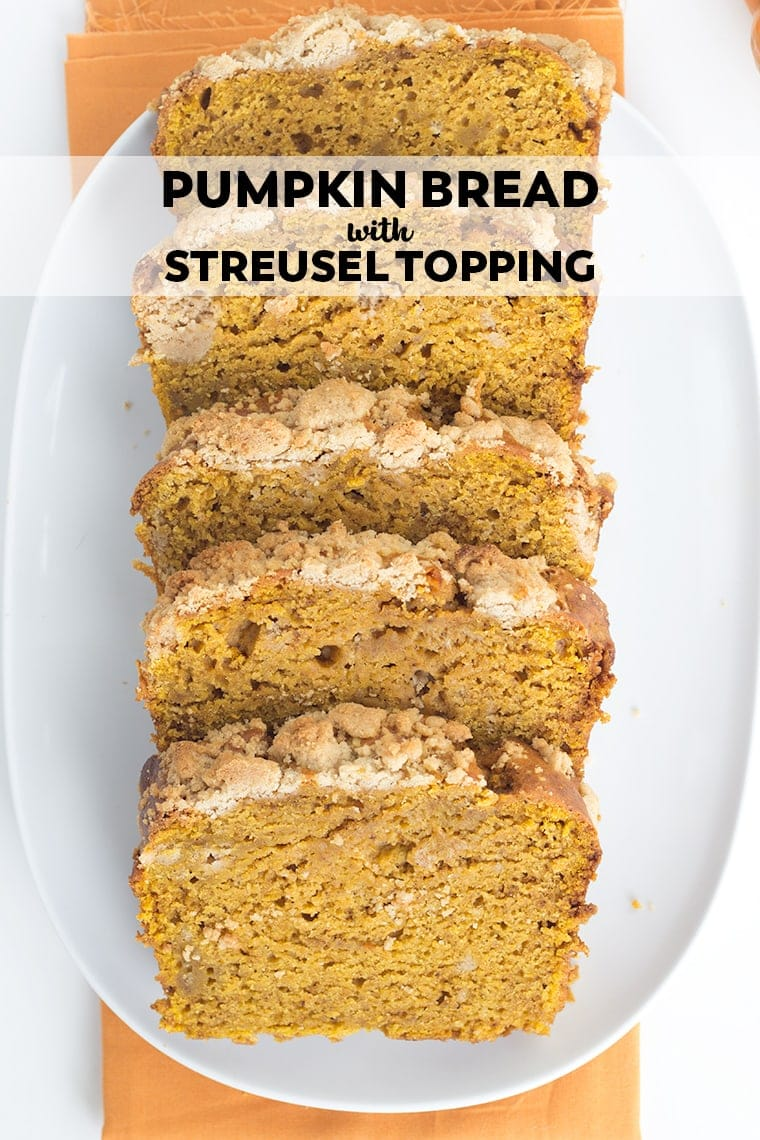 This pumpkin bread with streusel topping is the perfect way to kick off the fall season. It's a dense, moist quick bread recipe full of fall spices.
