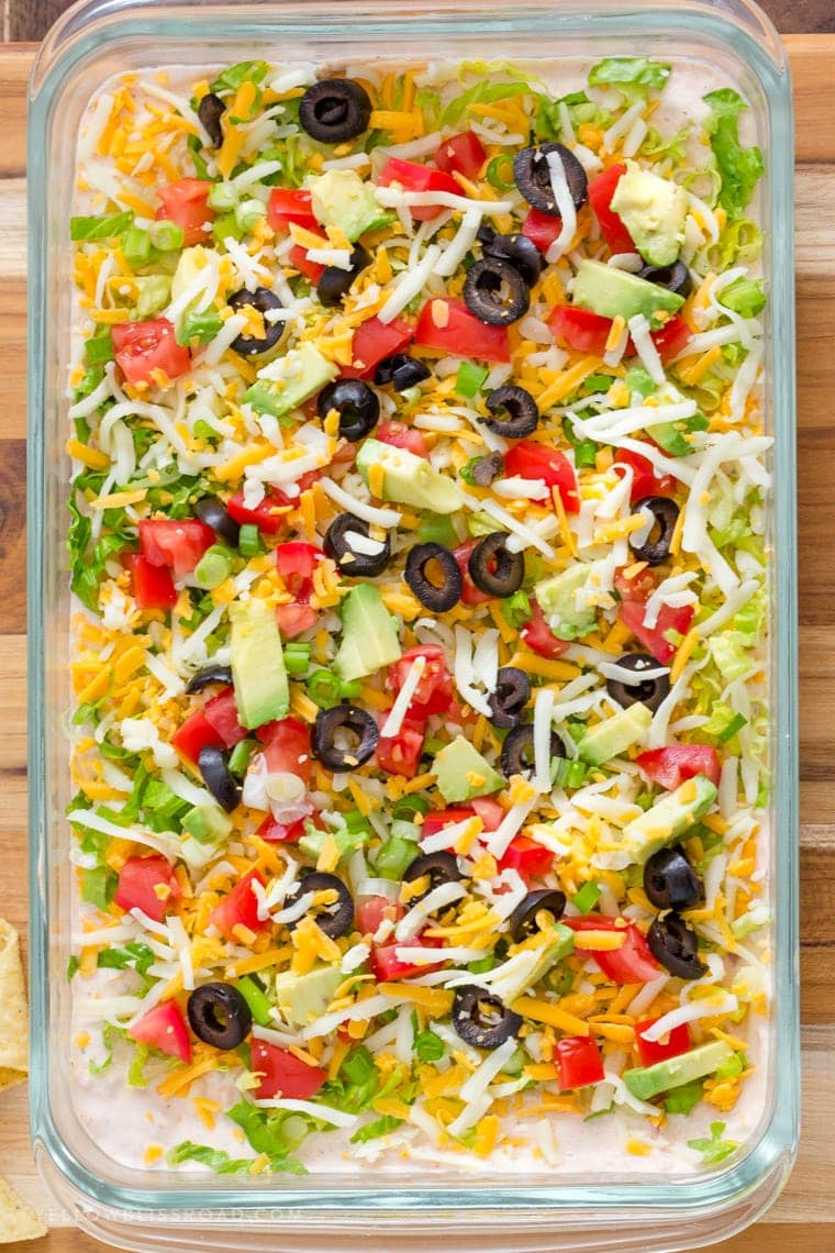 Big Pan of Skinny Taco Dip | Game Day Appetizer | Party Food | Lightened Up 7 Layer Dip