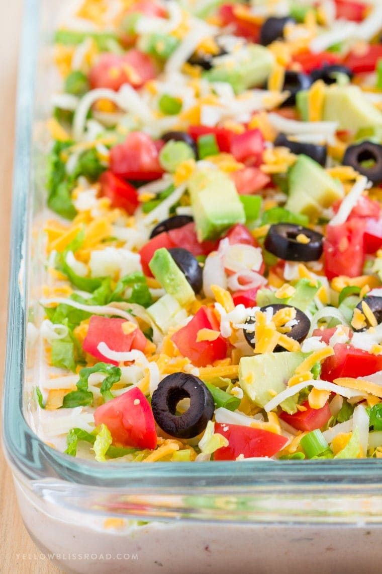 Easy Skinny Taco Dip Recipe | Lightened Up 7 Layer Dip