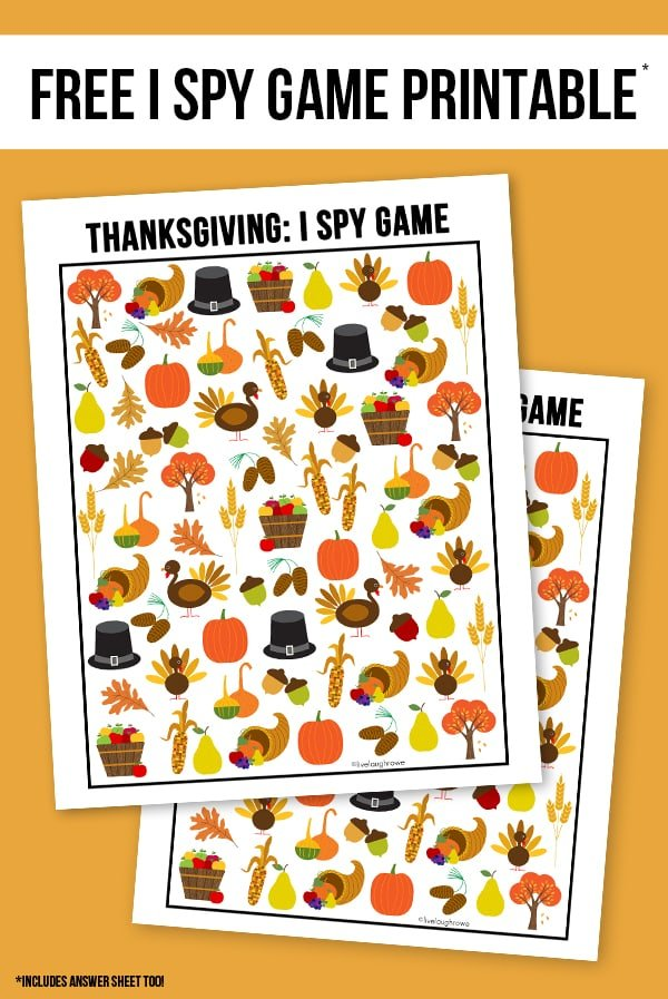 "Thanksgiving ""I Spy"" Printable Game for The Ultimate Thanksgiving Menu"