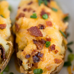 A close up of twice baked potatoes