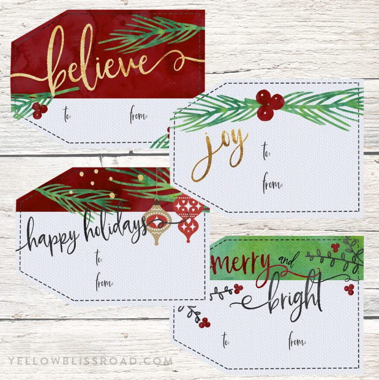 Free Printable Christmas Gift Tags with Watercolor Elements