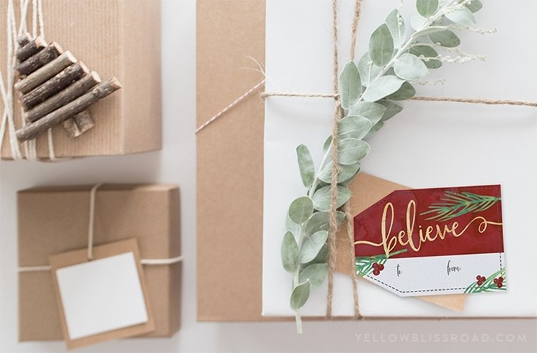 A stack of gifts with printable tags