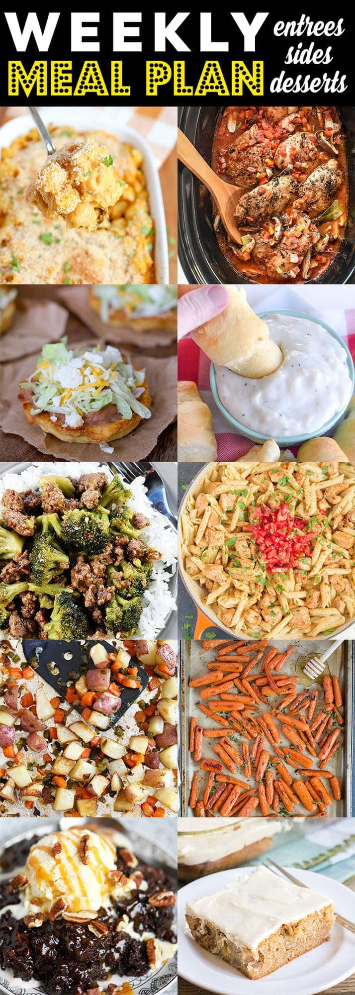 Weekly Meal Plan with all kinds of dishes to satisfy your family from Pumpkin Mac & Cheese to Cajun Pasta to roasted carrots.