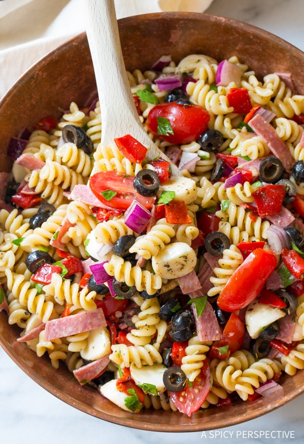 A bowl of Italian pasta salad