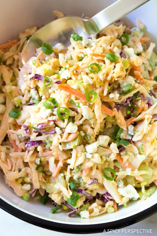 A close up of coleslaw