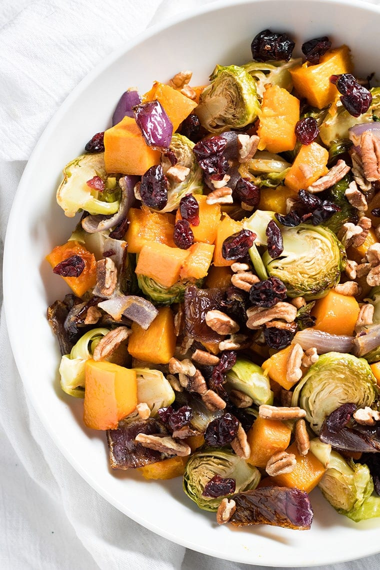 Cranberry Pecan Roasted Vegetables for Thanksgiving side dish