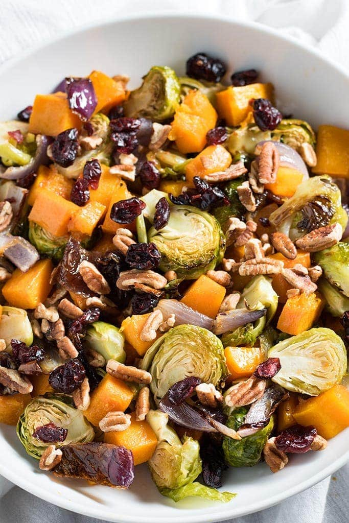 Roasted Vegetables with Cranberries and Pecans | Thanksgiving Side Dish