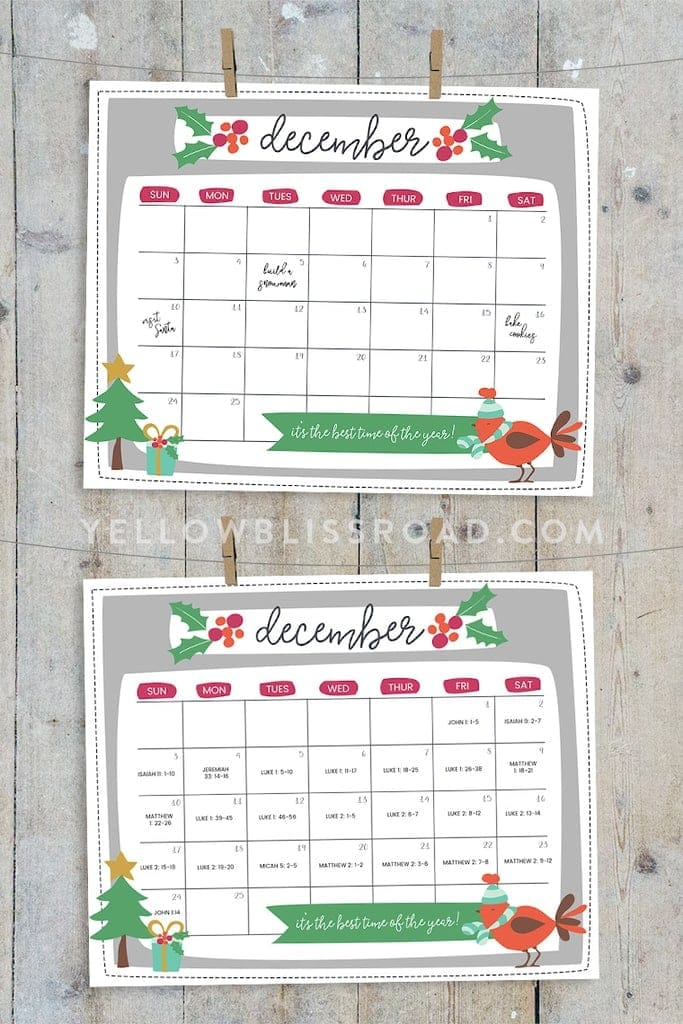 photograph about Printable Christmas Calendar identified as No cost Printable Xmas Countdown Calendar for December 2