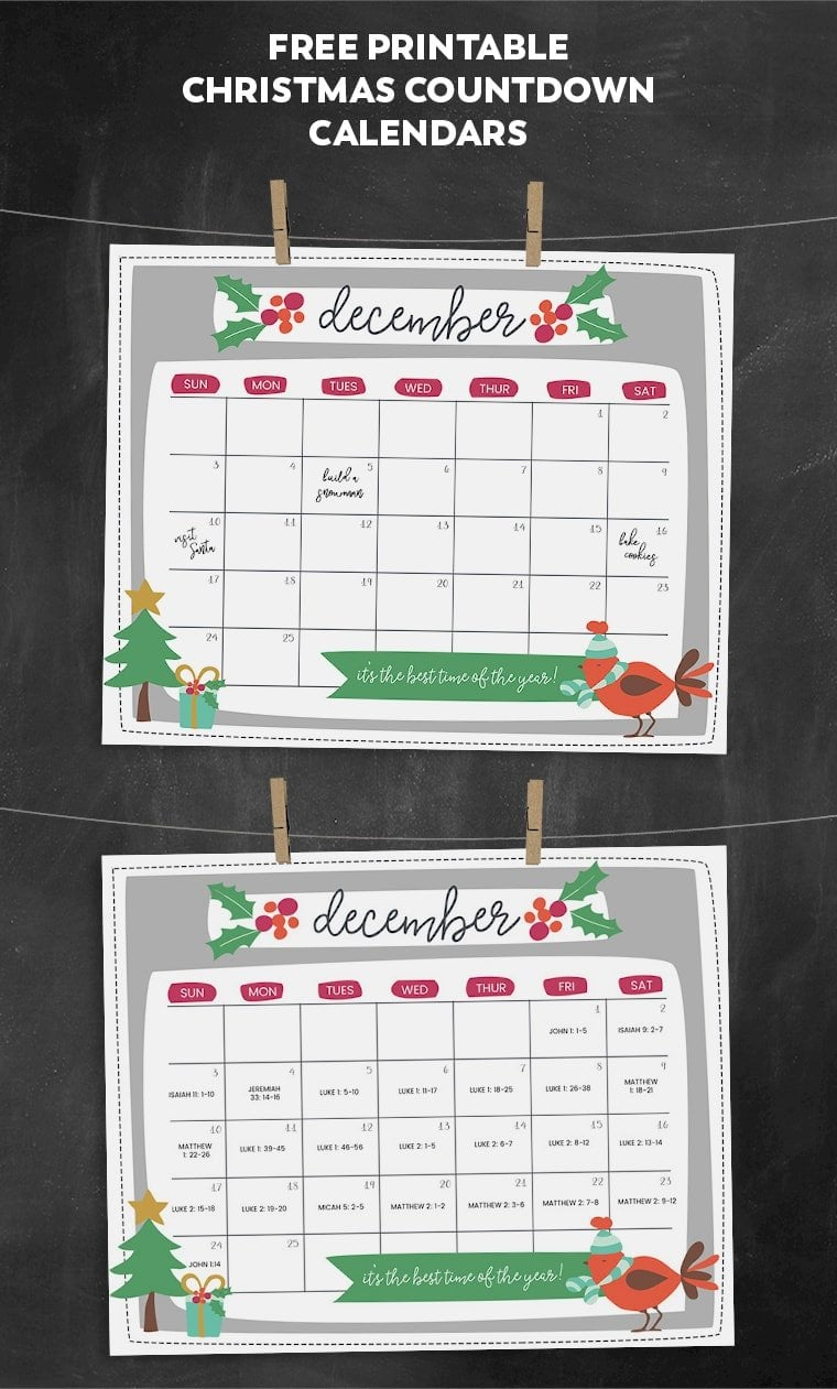 free printable christmas countdown calendar for december 2 versions