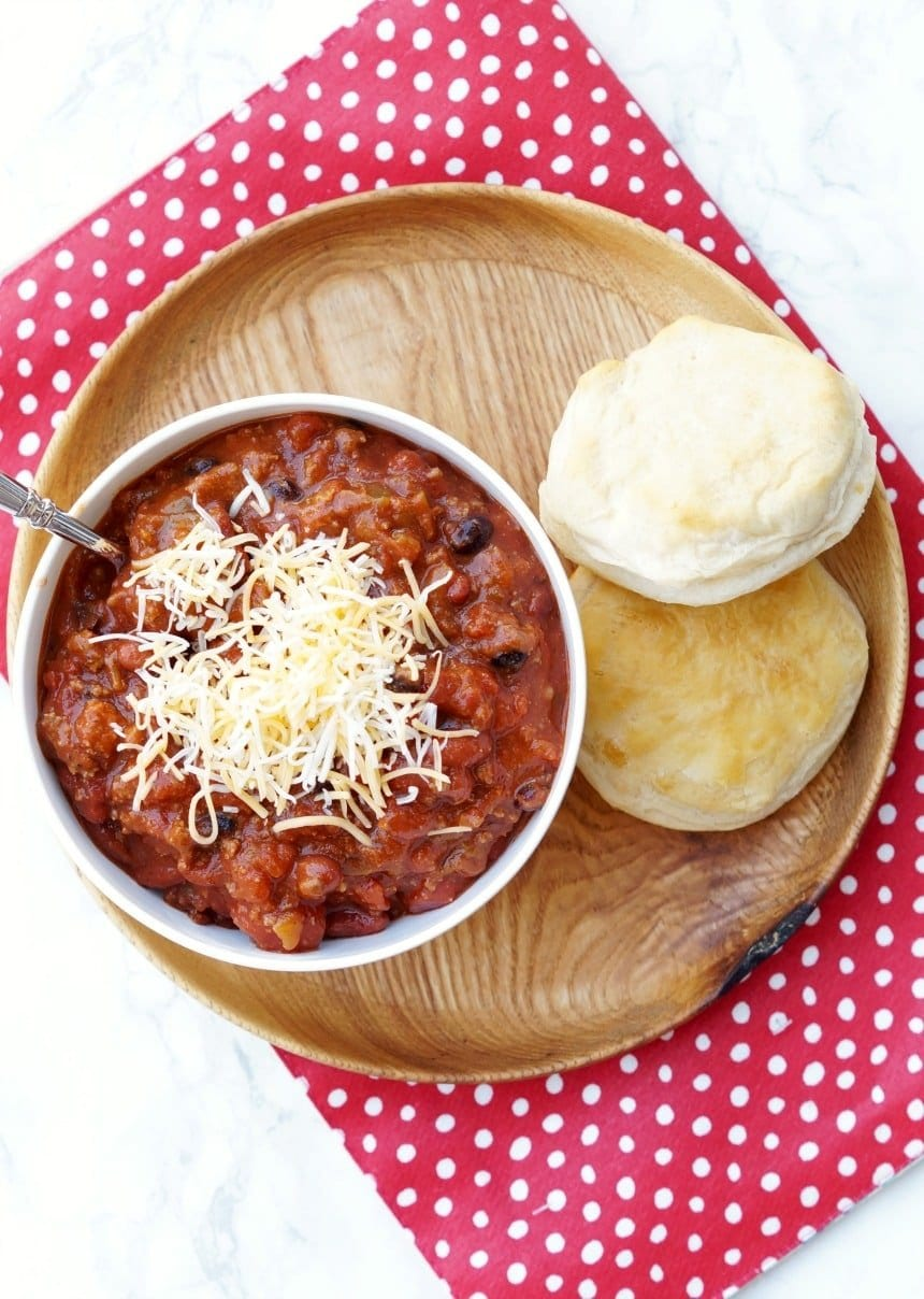 Instant Pot Chili - An easy chili recipe with a side of biscuits.