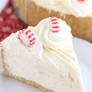 A piece of peppermint cheesecake